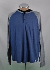 Lucky Brand LA Cali Style Long Sleeve Blue Gray 3 Button T-Shirt Size XXL EUC