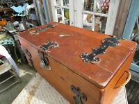 Vintage Large Wooden Pine Treasure Chest Trunk Jolly Roger