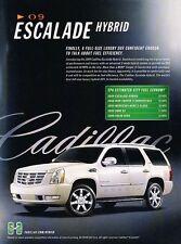 2009 Cadillac Escalade Hybrid Original Advertisement Print Art Car Ad J609
