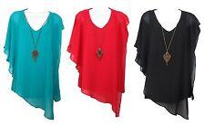Women's Short Sleeve Blouse Top Blue Red Black w/ Necklace IZ Byer New