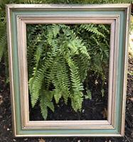 Vintage Wood Picture Frame Art Painting Frame Linen Liner Teal & Silver Gilt