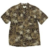 Island Shores Floral Hawaiian Shirt Mens Size L Large Brown Short Sleeve Button