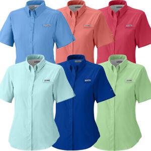 Columbia PFG Womens Medium Bahama Orange S//S Omni Shade Button Casual Shirt NWT