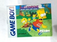 The Simpsons Escape From Camp Deadly Bart Original Nintendo Gameboy Manual Only