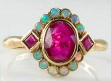 DAINTY  9CT 9K GOLD INDIAN RUBY & AUS OPAL CLUSTER ART DECO INS RING FREE RESIZE
