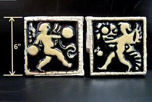 """(2) VERY RARE - Grueby Pottery CHERUB w/ CYMBALS & CUPID w/CORNUCOPIA 6"""" x 6"""""""