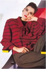 Ladies' 4 Ply 1950s Style Bow Neckline Striped Sweater Vintage Knitting Pattern