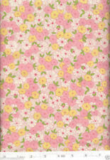 Margot Pink & Golden Flowers Retro Quilt Fabric - Free Shipping - 1 Yard