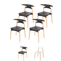 4x Scandinavian Dining Chair Modern Simple Wood & Plastic Basilio