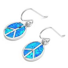 Silver Earrings with Lab Opal Oval Peace Sign Earring Height 15 mm Blue Lab Opal