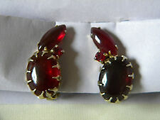 Vintage Open Back Ruby Glass Prong Set Clip Earrings, Possibly Juliana