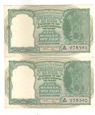 INDIA RS 5 DEER B. RAMA RAO SERIAL 2 UNC notes