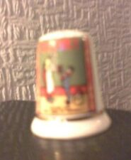 """FENTON BONE CHINA THIMBLE - """"Redfern's Rubber Heels -Mother says they MUST be """""""