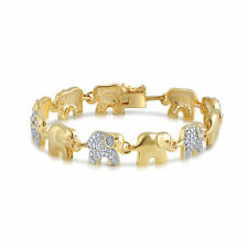 Ladies Gold Plated Brass Elephant Link Bracelet with Natural Diamond and Accents