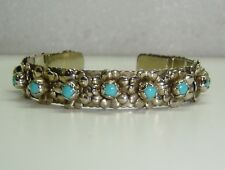 """MEXICO CUFF BRACELET W/ TURQUOISE SET IN STERLING SILVER  6"""" WRIST  N281-I1"""