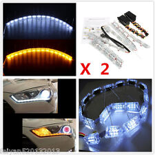 Flexible Dual Color White+Amber LED Strip Headlight Signal Lamp Tear Eye Lights