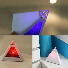 1Pcs Digital Color changes Snooze Clock Pyramid Backlight temperature Alarm
