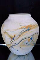 "Nemadji Vase Studio Art Pottery Made In USA Blue Orange Gray Swirl 5"" Tall"