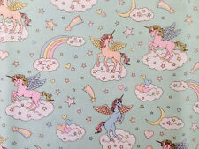 Cute Unicorn Print Japanese Fabric Light Green - 110cm x 50cm