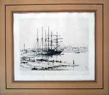 Ships docked. Etching by Eugene Bejot
