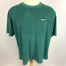 Rare Vintage Green Terry Cloth Knit Adidas USA 90's Grunge Surf Soccer T Shirt