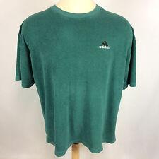Rare Vintage Green Terry Cloth Knit Adidas USA 90's Grunge Surf Soccer T Shirt