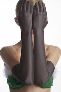 elegante Damen Handschuhe Satin ultra lange Satinhandschuhe schwarz Wäschebeutel