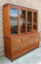 """1980'S Chinese Rosewood Large 72""""W X 78"""" T China Cabinet Glass Shelves 4 Drawers"""