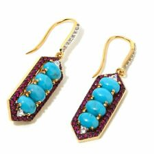 Meher's Jewelry Ruby & Turquoise Geometric Gemstone Earring Sterling Silver