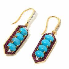 Rarities Carol Brodie Ruby & Turquoise Geometric Gemstone Earring Sterling Silve