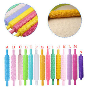 Portable Embossed Rolling Pin Heart Pattern Fondant Pastry Cake Decor Tools