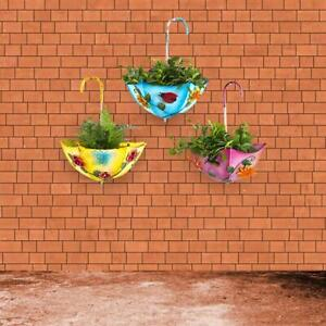 Metal Flower Pot Planter Holder Hanging Umbrella Wall Decor for Home Garden