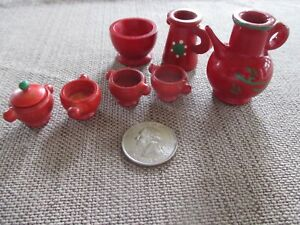Vintage Miniature Tableware Tea Set Coffee Set Red and Green Wood Hand Painted