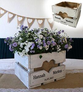 Vintage Hochzeit OBSTKISTE TISCHDEKO Holz Geschenk Blumen Ländlich Shabby Weiß