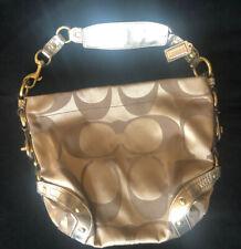 Coach Carly Signature W/Gold Leather Trim #13008 Khaki Sateen Canvas Hobo Bag