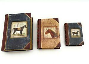 Set of 3 Punch Studio Mini Nesting Book Boxes Majestic Stallion 68927 Horses
