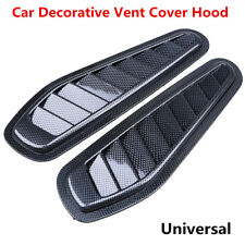 Pair Carbon Fiber Car Decor Air Flow Intake Scoop Turbo Bonnet Vent Hood Fender