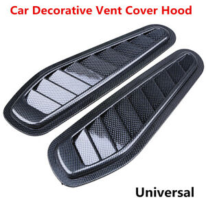 Pair Carbon Fiber Look Car Decor Air Flow Intake Scoop Turbo Bonnet Vent Hood