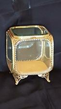 "Lrg.  6"" Tall Antique Jewelry Casket Trinket Box  Vitrine Beveled Glass Ormolu"