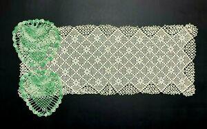 3  Vintage Handmade Crochet Doilies Dresser Scarves Rectangle and Tear Drops #32