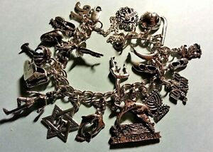 "Vintage Sterling Silver Charm Bracelet & 19 Charms, 7.5"" 45 gr, Sports & Music"