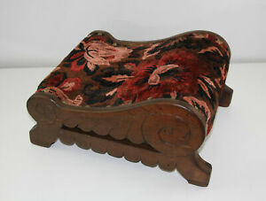 Antique NICE Fancy Carved SLEIGH CONTOURED Wood Tapestry Foot Stool Gout Ottoman