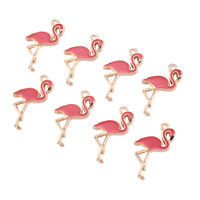 10pcs Alloy Enamel Pendants Mini Cute Flamingo Charms For Jewelry Making 26x14mm
