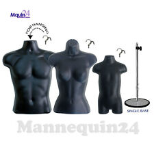 3 BLACK MANNEQUIN TORSOS - MALE FEMALE TODDLER FORM SET + 3 HANGERS + 1 STAND