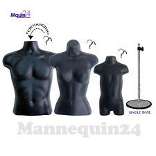 3 Black Mannequin Torsos Male Female Toddler Form Set 3 Hangers 1 Stand