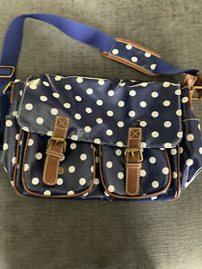 Navy Blue and White Polka Dot Satchel Waterproof With Pink Lining
