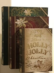 Set of 3 New Christmas Book Boxes Decorative Gold Foil Accent