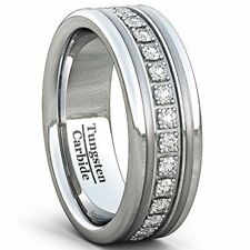 Wedding Band 8mm Classic Tungsten Carbide Stone Ring Comfort Fit New*