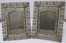 Pr Picture Frames Art Nouveau Stamped Pierced Metal Leaves Faux Bois Antique