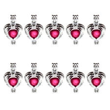 K537 10X/lot Silver Alloy 25mm Feather Wing Heart Pearl Beads Cage - Wholesale